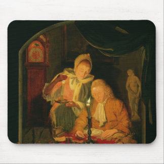 Couple counting money by candlelight, 1779 mouse pad