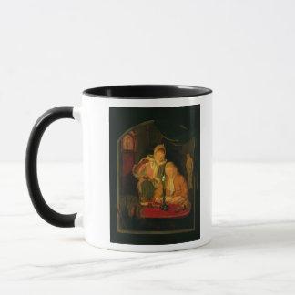 Couple counting money by candlelight, 1779 mug