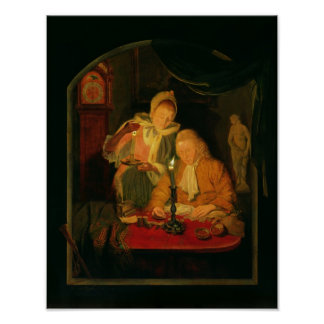 Couple counting money by candlelight, 1779 poster