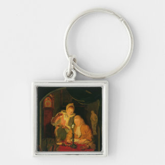 Couple counting money by candlelight, 1779 Silver-Colored square key ring