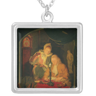 Couple counting money by candlelight, 1779 silver plated necklace