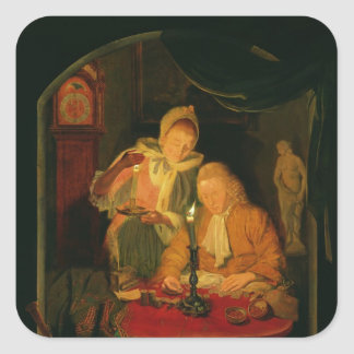 Couple counting money by candlelight, 1779 square sticker