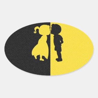 Couple Cute Kiss Love Photo Graphic Design Oval Sticker