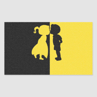 Couple Cute Kiss Love Photo Graphic Design Rectangle Stickers