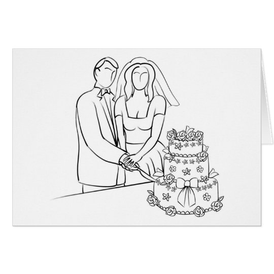 Couple Cutting Wedding Cake Sketch Card