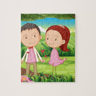 Couple dating in the middle of the woods jigsaw puzzles