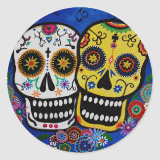 COUPLE DAY OF THE DEAD STICKERS ROUND STICKER
