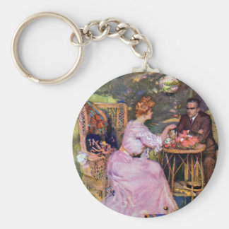 Couple Dining Al Fresco Basic Round Button Key Ring