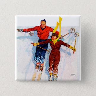 Couple Downhill Skiing 15 Cm Square Badge