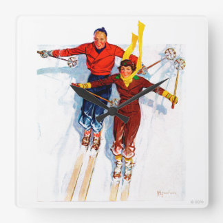 Couple Downhill Skiing Clock
