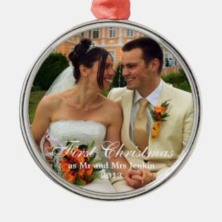 Couple first Christmas holiday wedding photo Silver-Colored Round Decoration