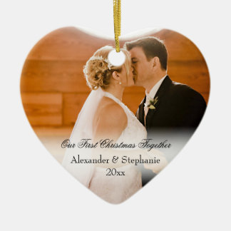 Couple First Christmas Together Keepsake Photo Ceramic Heart Decoration