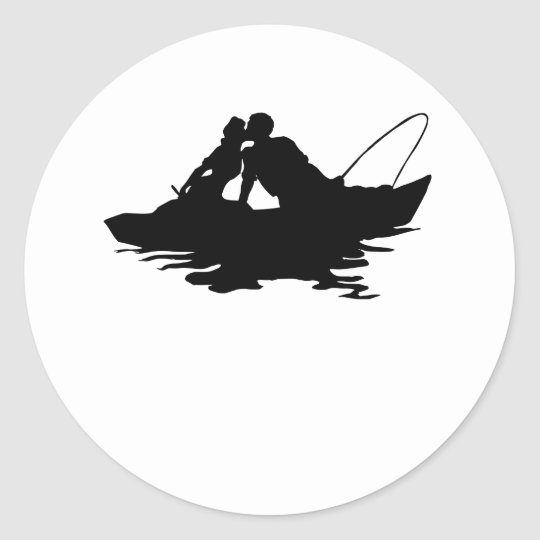 Couple Fishing Classic Round Sticker