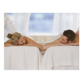 Couple getting massages postcard