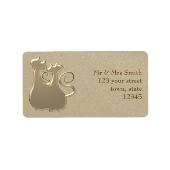 Couple Glamour Golden Sophisticated Cats Elegant Address Label