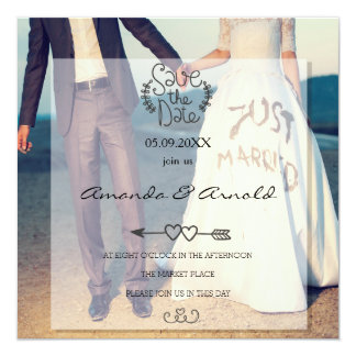Couple Holding Hands Photo Save The Date Cards 13 Cm X 13 Cm Square Invitation Card