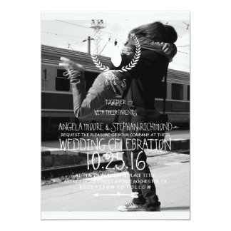 Couple hugging at the train station/deer theme 13 cm x 18 cm invitation card