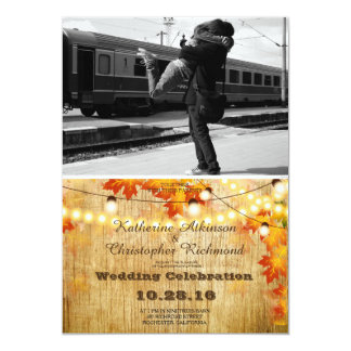 Couple hugging at the train station/fall theme 13 cm x 18 cm invitation card