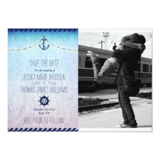 Couple hugging at the train station/nautic theme 13 cm x 18 cm invitation card