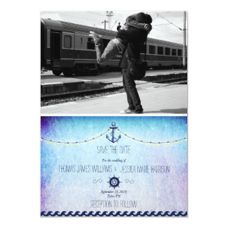 Couple hugging at the train station/nautic theme 13 cm x 18 cm invitation card