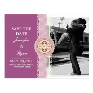 Couple hugging at the train station/pink theme postcard