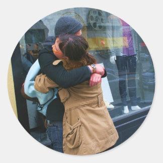 Couple Hugging photo Round Sticker
