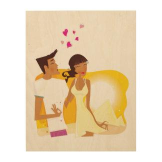 Couple illustration on Wood Wood Prints