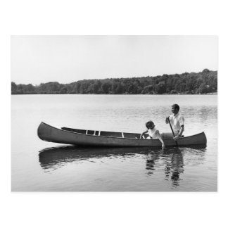 Couple in a Canoe Postcard