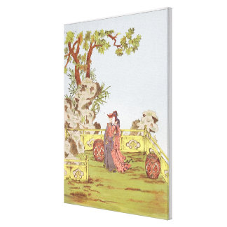Couple in a Chinese garden, from 'Ornaments of Chi Stretched Canvas Print