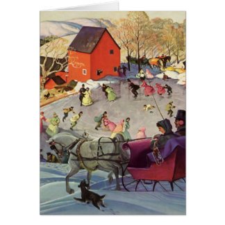 Couple in a Christmas Sleigh, Love and Romance Greeting Card