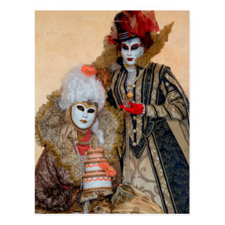 Couple in Carnival Costume, Venice Postcard