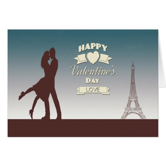 Couple in Front of Eiffel Tower Valentine Card