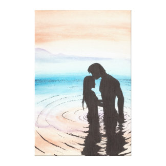 Couple in Love at Sunset Stretched Canvas Prints