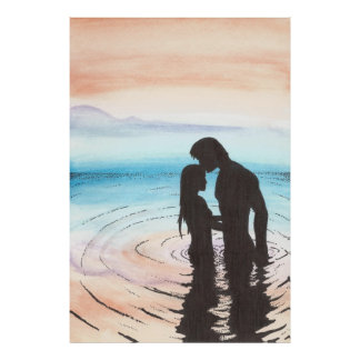 Couple In Love At Sunset Poster