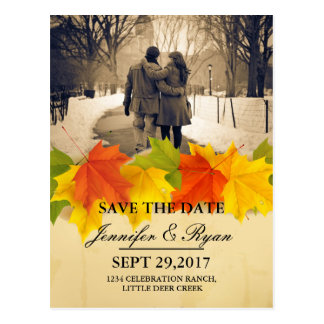 Couple in love at the park winter/fall theme postcard