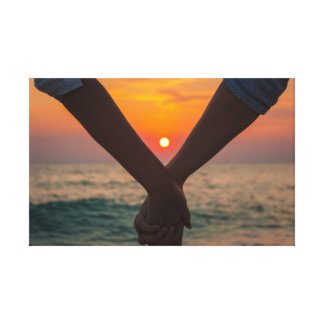 Couple in love holding hands by healinglove canvas print