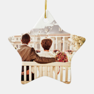 Couple in Love on park bench Ceramic Star Decoration