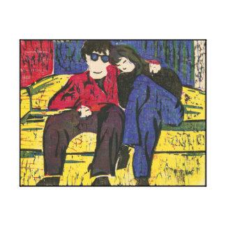 Couple in Love Print 14x11 Stretched Canvas Print