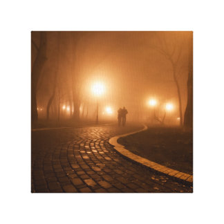 Couple in love, the foggy night by healinglove stretched canvas prints