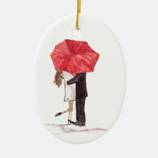 Couple in love under red umbrella christmas ornament
