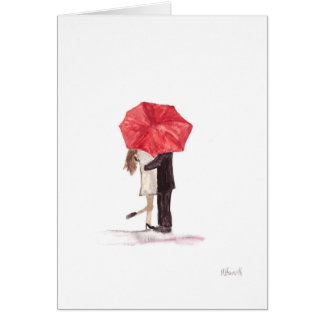 Couple in love under red umbrella greeting card