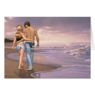 Couple in Love Walking on Beach into the Sunset Greeting Card