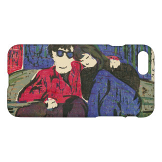 Couple in Love Woodcut Green Blue Red iPhone 7 Case