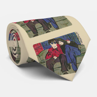 Couple in Love Woodcut Print Green Blue Red Beige Tie
