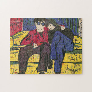 Couple in Love Woodcut Print Puzzles