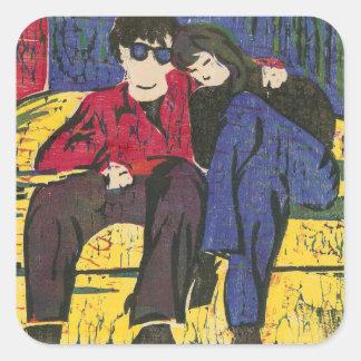 Couple in Love Woodcut Print Square Sticker