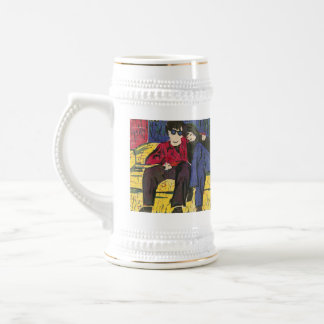 Couple in Love Woodcut Print Yellow Blue Red Beer Steins