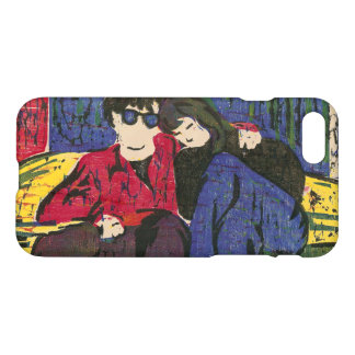 Couple in Love Woodcut Yellow Blue Red iPhone 7 Case