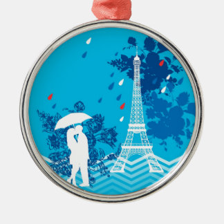 Couple in Paris with Eiffle Tower Christmas Ornament