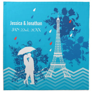 Couple in Paris with Eiffle Tower Napkin